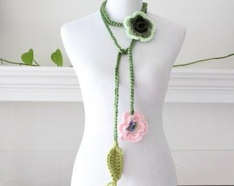 Crocheted Light Pink, Green Flower Necklace, scarf, scarflette