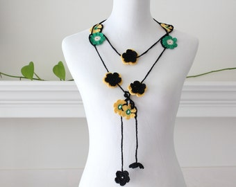 Crochet Black Yellow Green Lariat Necklace, Scarf, Scarflette