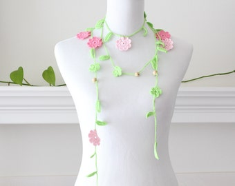 Crochet Pink Green Bead Lariat, Scarf, Necklace, Scarflette