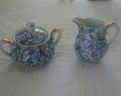 Vintage Lefton China Hand Painted Sugar and Creamer Set