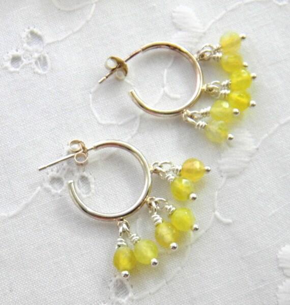 yellow gemstone hoop earrings pale yellow by julieellisdesigns