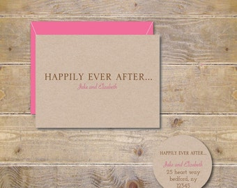 Happily Ever After Wedding Thank You Cards, Fairytale Wedding Cards, Rustic Wedding,  Bridal Shower Thank You Cards, Happily Ever After