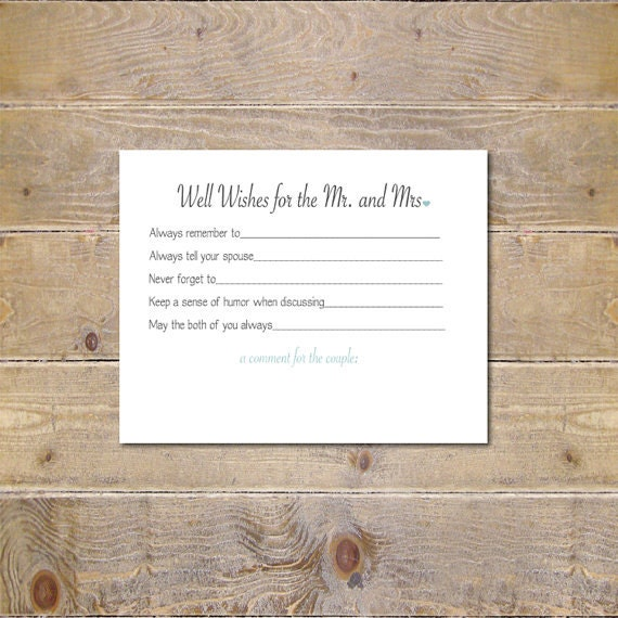 Guestbook Bridal Shower Activity Well Wishes Cards