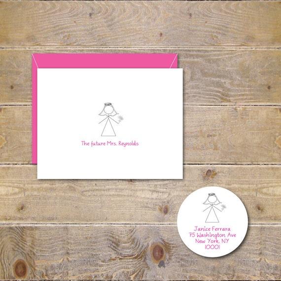 Stick Figure Cards, Stick Figure Bridal Shower Cards, Future Mrs Cards, Soon To Be Mrs Cards, Bridal Shower Thak You Cards