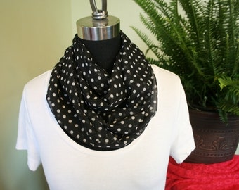 100% Chiffon Black and White Polka Dot Infinity Scarf
