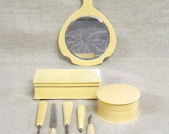 Celluloid Vanity Set , Jewelry Box , French Ivory , Ivory , Hand Mirror , Beauty Accessories , Powder Box , European , Dresser Set