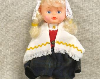 Vintage Latvia Souvenir Doll, Krastmala, International, Small Female, European, Collectibles, Ethnic Costume, Hat, Traditional, Ornate,Cloth