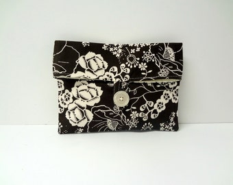 READY TO SHIP - Brown and Cream Floral Makeup bag