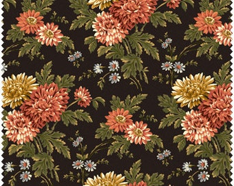 Large Floral in Rust, Cream, White, and Green on Black Cotton Quilt Fabric for Sale, Maywood Studios 2000-A, Fat Quarter, Yardage