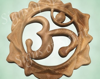 Lotus Om-Wood carved Lotus Blossom-Sanskrit Symbol AUM-Meditation-Chant