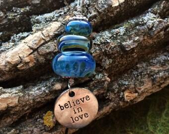 Lampwork glass bead pendant necklace believe in love