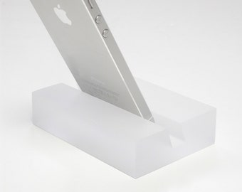 Frosted Ice Groove  iPhone stand -Modern Minimalist Phone Stand, Great Graduation Gift, Doubles as a Business Card Holder!