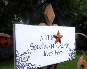 A little Southern charm lives here :-) Wood sign ready to Hang with organza Ribbon with a rustic star