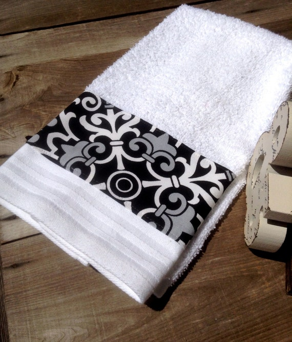 black gray and white hand towel by mydecor8 on etsy. Black Bedroom Furniture Sets. Home Design Ideas