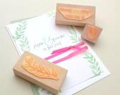 Wedding Stamp, Custom Made, AMPERSAND Stamp, Leaf Stamp, floral Stamp, Name Stamp, Personalized Stamp, Wedding Invitation Stamp