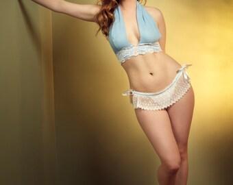 White Wedding Lingerie Panties- Something Blue - Skirted thong- Small
