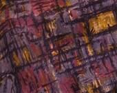 "Vintage Mid Century Abstract Purple & Blue Cotton Fabric, 36"" x 86"", 2 1/3 YDs"