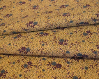 """Vintage 50s Small Blue & Turquoise Flowers Print Fabric, 44"""" x 2 2/3 YDs"""