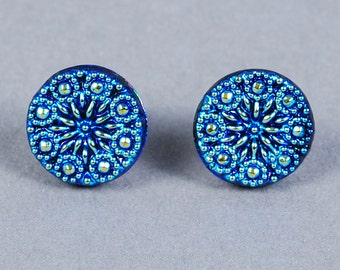 Dichroic Glass Cabochon 14mm - Blue Glass Cabochon - Snowflake Cabochon