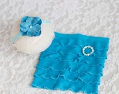 MIA. Turquoise Ruffle Skirt. Newborn. Pink Flower Headband. Bracelet. Photography Prop. Baby Girl. Tolola Designs.