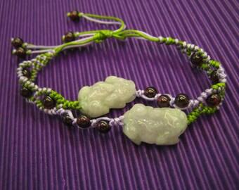 Chinese . PIXIU / Natural Jade Bracelet . Handknotting Jewelry