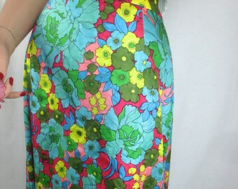 Vintage 1960's-1970's MOD Maxi Skirt - FAB Floral Full Length Skirt - size Med
