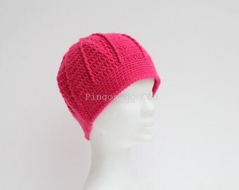 Hot Pink crocheted hat. Wool. Handmade by T. Catana. Gift for her. Made to Order.