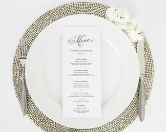 Wedding Menu - Dinner Menu - Glamorous Script Design - Deposit