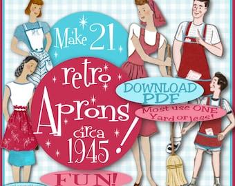Make 21 RETRO APRONS - 1945 e-Pattern -Vintage PDF Instant Download Sewing Patterns Bib Mother Daughter Garden Fun