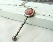 Candy - Oxidized Sterling silver, rhodocrosite and Pearl Pendant with chain - READY TO SHIP