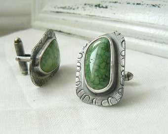 Oxidized Sterling silver and Turquoise Asymmetric Cufflinks - READY TO SHIP