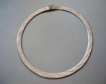 Vintage Retro 80s ITALY 925 Sterling Silver SS Thick Woven Chain Choker Deco Necklace