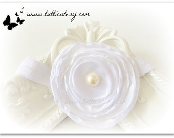 White silk Flower headband