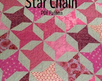 PDF quilt pattern -- Star Chain -- multiple size options