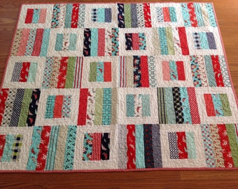 Baby, Crib or Lap Quilt in Red, Aqua, green and Navy blue Daysail fabrics Bonnie and Camille  B
