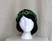Green Vintage Print Half Turban with Gold Black Pendant, hat, 1920s, Gatsby, GreatGatsby, flapper