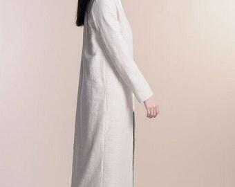 Beige fabric cotton long windbreaker