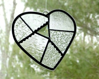 Stained glass heart suncatcher, funky heart, glass patchwork heart, crazy quilt heart, Mothers day gift, made to order, window decor