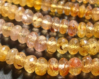 "3.5-4mm, 7"" strand, Gorgeous Genuine Pink Golden Imperial Topaz Faceted Lovely Rondelle"