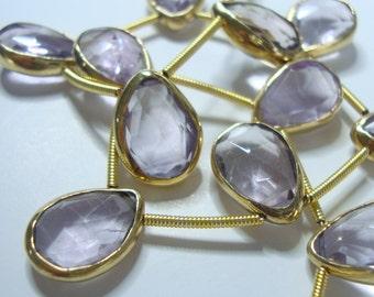 Rose de France, Beautiful Soft lavender Pink, Micro Faceted Vermeil Bezel Rim Amethyst Pear Briolette connector, Full Strand