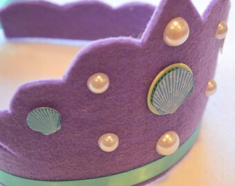 eco friendly meris mermaid felt crown with sea shells, pearl gemstones, and adjustable ribbon tie.  party, play, rule the sea.
