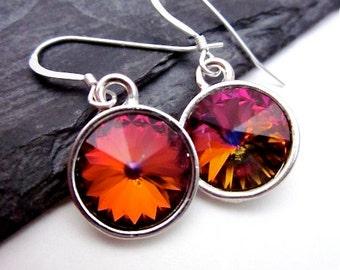 Volcano Crystal Earrings -- Volcano Drop Earrings -- Volcano Swarovski Crystal Earrings -- SILVER - red - purple - orange earrings