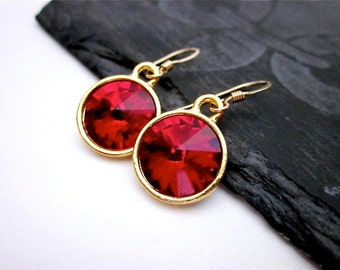 Gold & Red Dangle Earrings -- Red Crystal Drop Earrings -- Red Swarovski Crystal Earrings -- Dark Red Dangles -- Siam Dangle Earrings