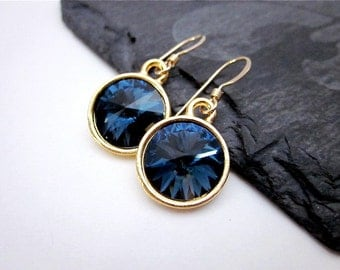Navy & Gold Earrings -- Gold and Navy Blue Earrings -- Montana Blue Earrings -- Dark Blue Crystal Drops -- Montana Swarovski Earrings