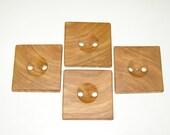 """4 Handmade plum wood buttons, accessories (1,77 x 1,77"""" diameter x 0,28"""" thick)"""