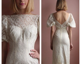 Vintage Lace Dress / 1960's White Lace Dress by Lilli Diamond / Puffed Sleeve Garden Party Dress / Casual Wedding Dress / Gorgeous Neckline