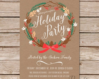 Holiday Party Invites / Reef Christmas Invitations / Personalized Holiday Invitation Card / Digital Printable File and Printed Cards