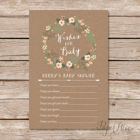 Baby Shower Message For Card: Rustic Baby Shower Wishes For Baby Card / Shabby Chic Baby