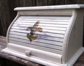 Bread box white distressed finish with golden fluer de lis painted on roll top door