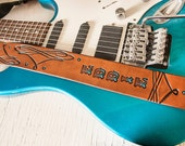 Custom Leather Guitar Strap - Acoustic or Electric - Western Scroll Design - Hand Tooled and Painted
